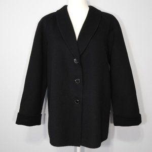 Carole Little Black Lightweight Wool Pea Coat